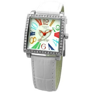 COGU(コグ) 腕時計 Ryo リョウ スクエアシリーズ カラフルインデックス ホワイト RYO1206S-C1W レディースウォッチ - 拡大画像