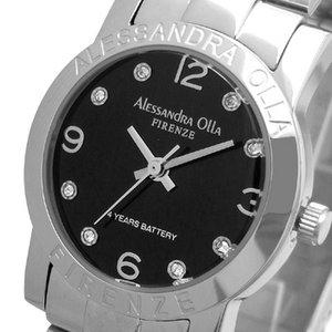 Alessandra Olla(アレサンドラオーラ)腕時計 ラウンドフェイス レディースウォッチ AO-711 ブラック - 拡大画像