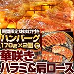 【2012年2月29日まで ハンバーグ2個おまけ付き】亀山社中 タレ漬けセット 華咲きハラミ&華咲き肩ロース 3.9kg