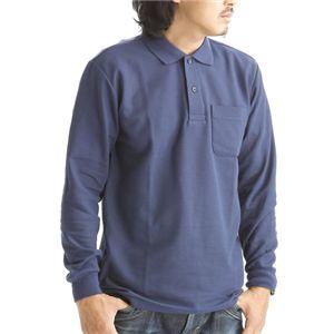 BIG 鹿の子ポケット付き長袖ポロシャツ ネイビー Lサイズ - 拡大画像