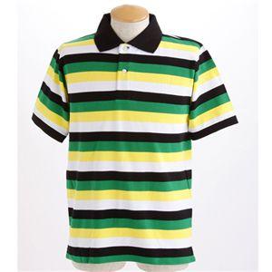 マルチボーダーメンズポロシャツ グリーン Lサイズ - 拡大画像