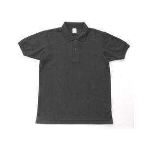 無地鹿の子ポロシャツ ブラック SS - 拡大画像