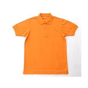無地鹿の子ポロシャツ オレンジ 4L - 拡大画像