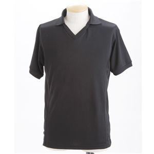 ドライメッシュ 襟付きTシャツ ブラック S - 拡大画像