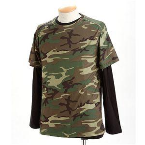 ドライクール ナイス カモフラ半袖 Tシャツ&ロング Tシャツ2枚 セット( 迷彩) ウッドランド XL - 拡大画像