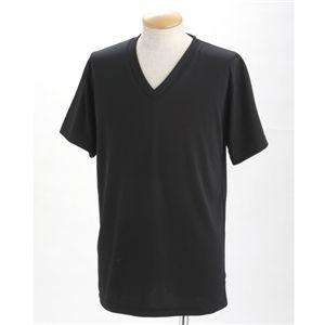 ドライクールファースト立体裁断 Vネック&Uネック Tシャツ2枚セット ブラック L - 拡大画像