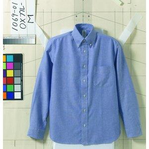 オックスフォードボタンダウンワンウォッシュ長袖シャツ O X ブルー XL - 拡大画像