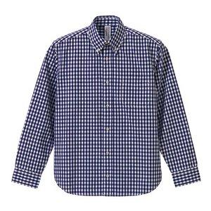 クールマックスボタンダウン長袖チェックシャツ CB1276  ネイビーチェック  L - 拡大画像
