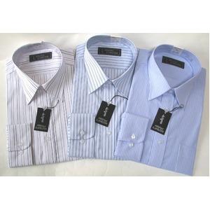 メンズビジネスストライプ ワイシャツ 長袖 Mサイズ 【 3点お得セット 】  - 拡大画像