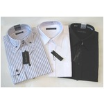 メンズビジネス白&ボタウンダウン ストライプ&ブラック ワイシャツ 長袖 Mサイズ【3点お得セット】