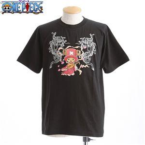 むかしむかし ワンピースコレクション 和柄半袖Tシャツ  S-2438/チョッパー双龍 黒L - 拡大画像