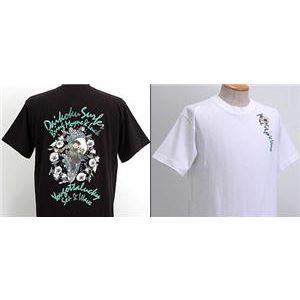 浮き出る立体プリント和柄!幸せの七福神Tシャツ (半袖) 1977・大黒 白 L (NP) - 拡大画像