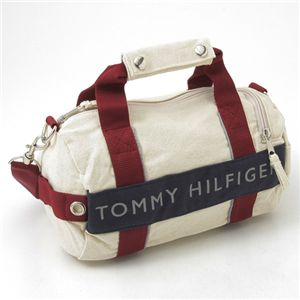 TOMMY HILFIGER(トミーヒルフィガー)マイクロミニダッフルバッグ MICRO MINI DUFFLE L200154-104 Natural×Navy - 拡大画像