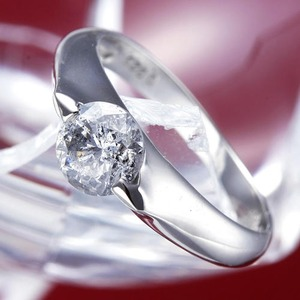 PT900(プラチナ)0.9ctダイヤリング 指輪 159713 15号【鑑別書付き】 - 拡大画像