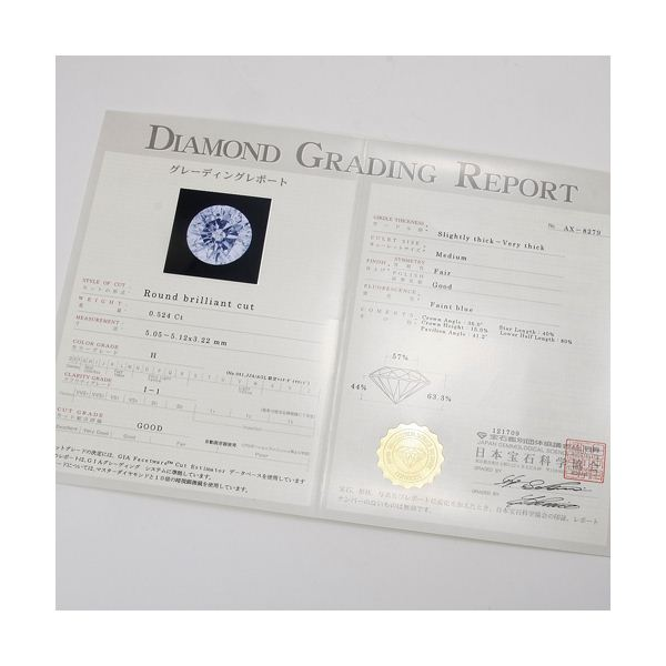 プラチナPt0.5ct ダイヤモンドヴェネチアンペンダント(鑑定書付き)