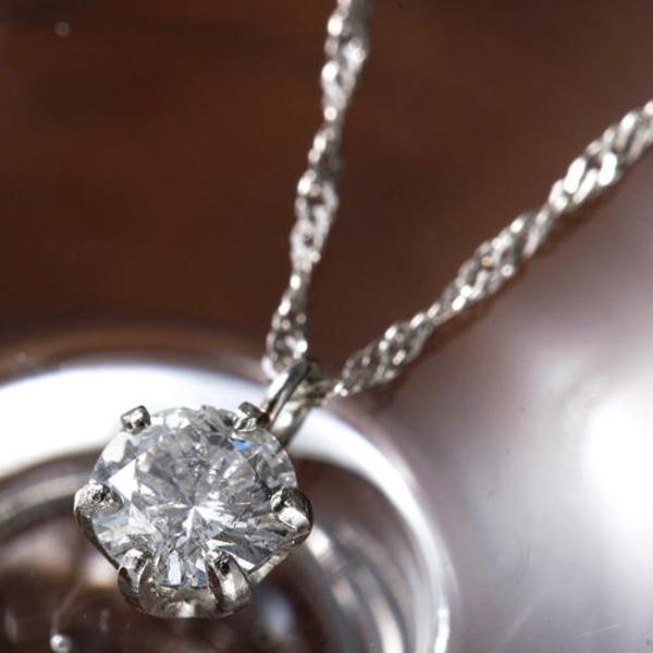 PT900 0.2ct一粒ダイヤモンドペンダント/ネックレス(プラチナ)42cm 鑑別カード付きのポイント4