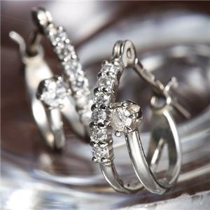 K18WG ダイヤモンド14石 計0.1ctエタニティピアス 160909(18金ホワイトゴールド) - 拡大画像