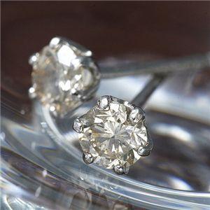 【訳あり・在庫処分】0.3ct シャンパンダイヤモンドピアス - 拡大画像
