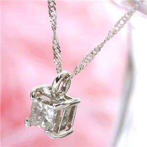純プラチナ0.2ctプリンセスダイヤモンドネックレス - 拡大画像