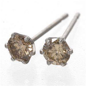 プラチナダイヤモンドピアス 0.3ctブラウンダイヤ(シャンパンカラー)&PT900のポイント7