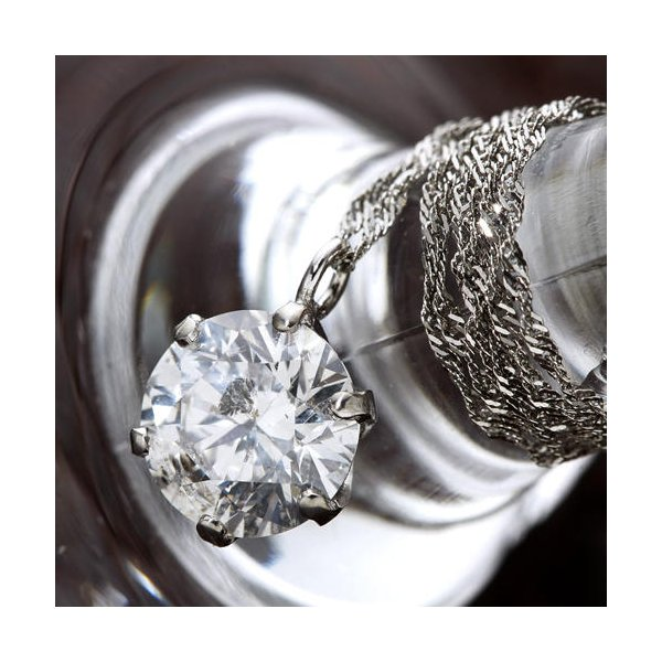 プラチナPt 1ctダイヤモンドペンダント/ネックレス(鑑別書付き)
