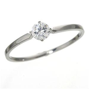 大きめだけ プラチナPt900 /0.3ctダイヤリング 指輪 81610/4爪15号 - 拡大画像