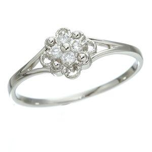 プラチナダイヤリング 指輪 デザインリング3型 フローラ  7号 - 拡大画像