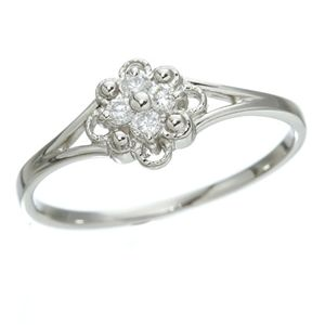 プラチナダイヤリング 指輪 デザインリング3型 フローラ 19号 - 拡大画像