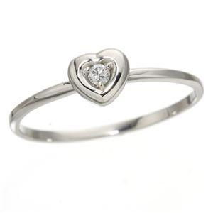 K10ハートダイヤリング 指輪 ホワイトゴールド 17号 - 拡大画像