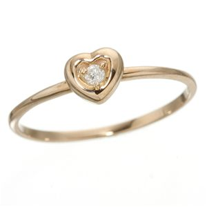 K10ハートダイヤリング 指輪 ピンクゴールド 7号 - 拡大画像