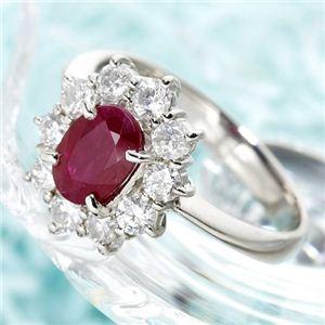 プラチナ スリランカルビー1ctデカメレダイヤリング 指輪 9号 - 拡大画像