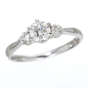 K18ホワイトゴールド0.7ct ダイヤリング 指輪 キャッスルリング 17号 - 拡大画像