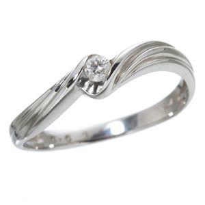 ダイヤリング 指輪 ウェーブリング 17号 - 拡大画像