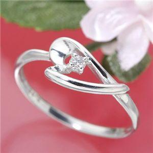 ピンクダイヤリング 指輪 アレンジハートリング 15号 - 拡大画像