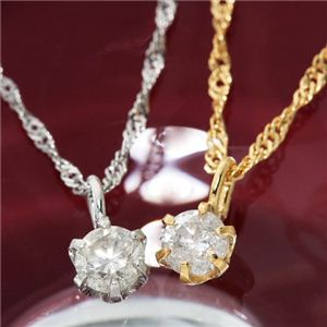 K18WG 0.1ct 一粒ダイヤモンドネックレス