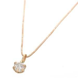 0.1ctダイヤモンドペンダント/ネックレス(ベネチアンチェーン) 18Kピンクゴールド - 拡大画像