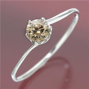 K18ホワイトゴールド 0.3ctシャンパンカラーダイヤリング 指輪 9号 - 拡大画像