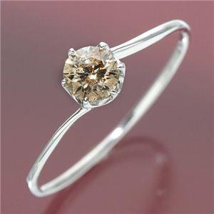 K18ホワイトゴールド 0.3ctシャンパンカラーダイヤリング 指輪 15号 - 拡大画像