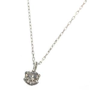 K18ホワイトゴールド 0.1ctダイヤモンドペンダント/ネックレス - 拡大画像