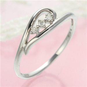 ダイヤリング 指輪 ハーフハートリング 7号 - 拡大画像