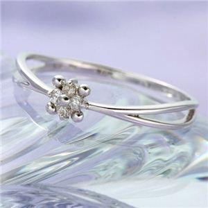 WGダイヤリング 指輪 フラワーリング 7号 - 拡大画像