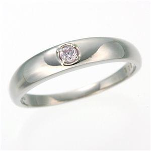 0.05ctピンクダイヤリング 指輪 ストレート 17号 - 拡大画像