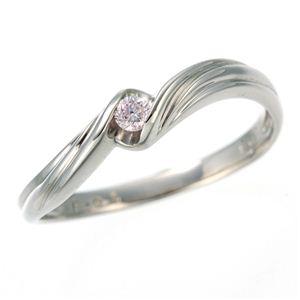 0.05ctピンクダイヤリング 指輪 ウェーブ 17号 - 拡大画像