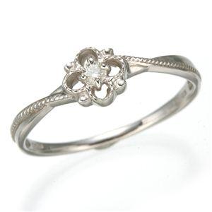 K10 ホワイトゴールド ダイヤリング 指輪 スプリングリング 184282 15号 - 拡大画像