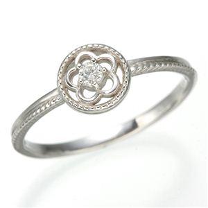 K10 ホワイトゴールド ダイヤリング 指輪 スプリングリング 184285 17号 - 拡大画像