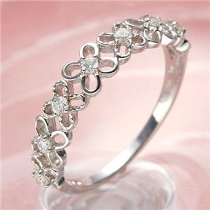 K10WGダイヤリング 指輪 フラワーリング 13号 - 拡大画像