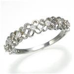 K10WGダイヤリング 指輪 フラワーリング 15号