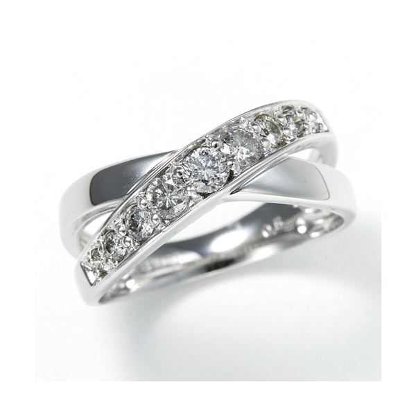 0.5ct ダブルクロスダイヤリング 指輪 エタニティリング 9号