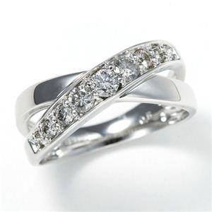 0.5ct ダブルクロスダイヤリング 指輪 エタニティリング 19号 - 拡大画像