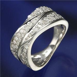 0.6ctダイヤリング 指輪  ワイドパヴェリング 15号 - 拡大画像